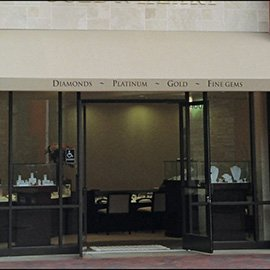 Beige storefront awning for one of our jewelry clients