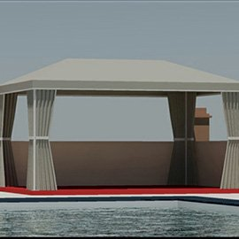 3D rendering of a custom pool canopy