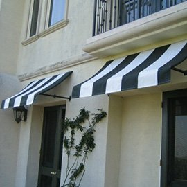 Black and white striped custom awnings