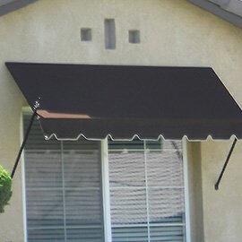 Custom spearhead awning with dark fabric