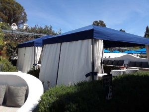 Ojai Valley custom awning with blue awning fabric and white blinds
