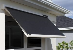 Black awning fabric on a Sol-Lux smart awning window cover
